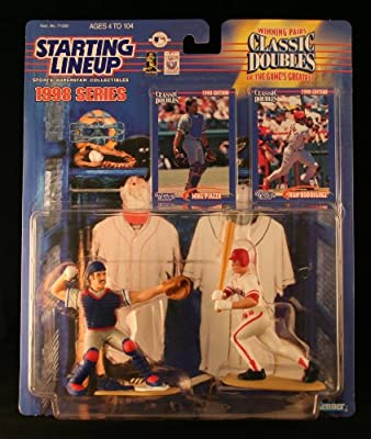 MIKE PIAZZA / LOS ANGELES DODGERS & IVAN RODRIGUEZ / TEXAS RANGERS 1998 MLB Classic Doubles * Winning Pairs Series * Starting Lineup Action Figures & 2 Exclusive Collector Trading Cards