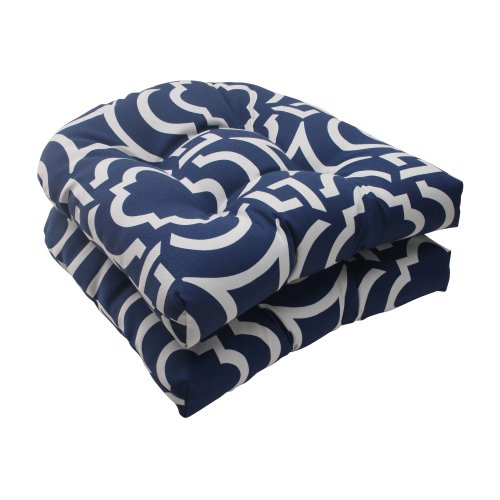 Pillow Perfect Indoor/Outdoor Carmody Wicker Seat Cushion, Navy, Set Of 2 front-995657