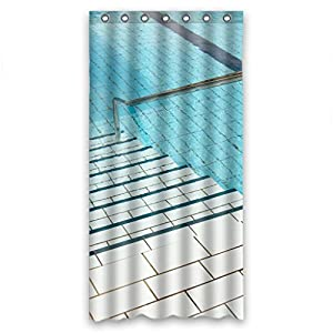 Charming swimming pool scenery shower curtain Swimming pool shower curtain