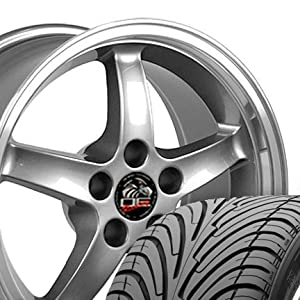 Cobra R Deep Dish Style Wheels and Tires with Machined Lip Fits Mustang (R) - Gunmetal 17x9 Set of 4