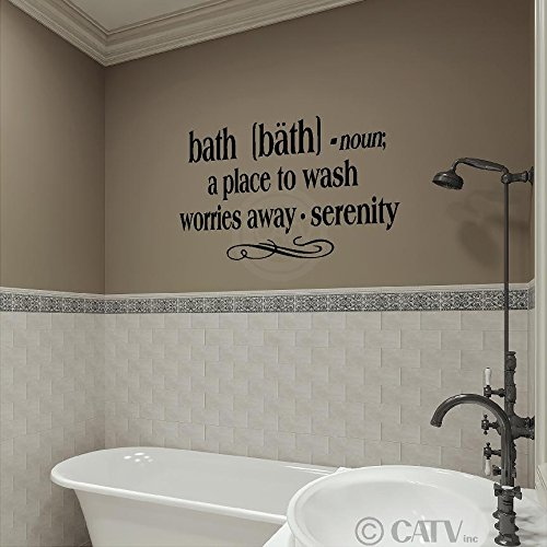 """Bath -Noun A Place To Wash Worries Away - Serenity 12.5"""" H X 25"""" W Vinyl Lettering Family Quote Wall Sayings Art Words Decal Sticker front-688215"""