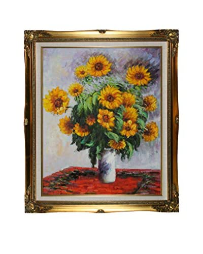 Claude Monet's Sunflowers Framed Hand Painted Oil On Canvas, Multi, 26 x 22