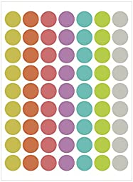 Assorted Pastel Colors Round Labels Dot Stickers Kit DIY (16mm, 10 sheets)