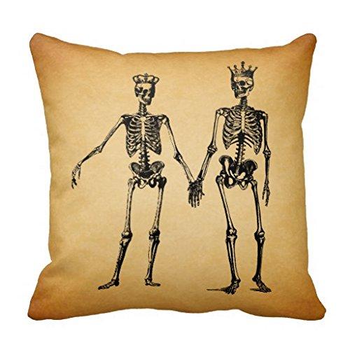 Skeleton Hands coppia con corona con dettagli in tela, cuscini, copriletto-Copridivano decorativo, Cuscino, 46 x 46 cm