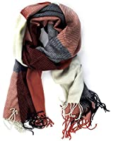 Leegoal Classic Cashmere Feel Plaid Long Pashmina Scarves Wrap,Red&Blue