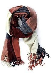 Leegoal Classic Cashmere Feel Plaid Long Pashmina Scarves Wrap,Red&Blue