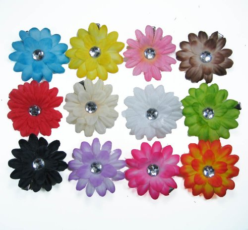 12 Assorted Small Gerber Daisy Hair Clip Bows for Infant Baby to Toddlers to Youth Girls - Great to use as hair clips or attach to headband or beanie