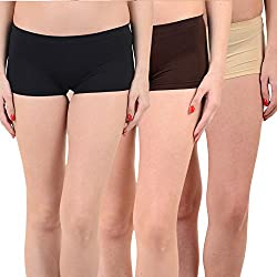 Mynte Women's Sports Shorts (MEWIWCMBP-SHR-100-99-96, Black, Brown, Beige, Free Size, Pack of 3)