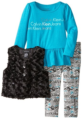 Calvin Klein Little Girls' 3 Piece Fuzzy Vest