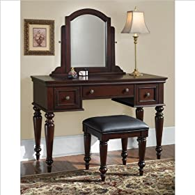 Home Styles 5537-72 Lafayette Vanity Table and Bench Cottage Oak Finish