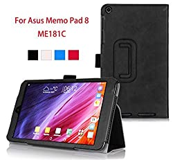 VSTN Ã'® ASUS Memo Pad 8 ME181C Multi-Angle Stand Slim-Book PU Leather Cover Case with Hand Strap&Card Holder, only fit ASUS Memo Pad 8 ME181C (Black)