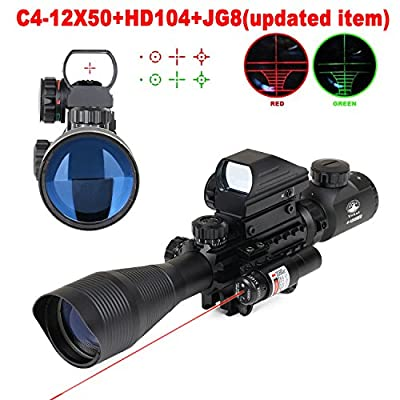 Vokul Tactical Rifle Scope 4-12x50EG Dual Illuminated with Red Laser Dot Sight and 4 Tactical Multi Optical Coated Holographic Red and Green Dot Sight for Hunting AR15 W/ 22mm Rail Mount by Vokul