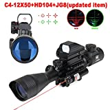 Vokul Tactical Rifle Scope 4-12x50EG Dual Illuminated Gun Scope and 4 Tactical Multi Optical Coated Holographic Red and Green Dot Sight for Hunting W/ 22mm Rail Mount