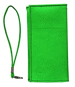 Jo Jo A5 G8 Leather Wallet Universal Pouch Cover Case For Huawei Ascend P8 Light Green