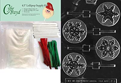 Cybrtrayd Assorted Snowflakes Lolly Chocolate Candy Mold with Exclusive Cybrtrayd Copyrighted Chocolate Molding Instructions
