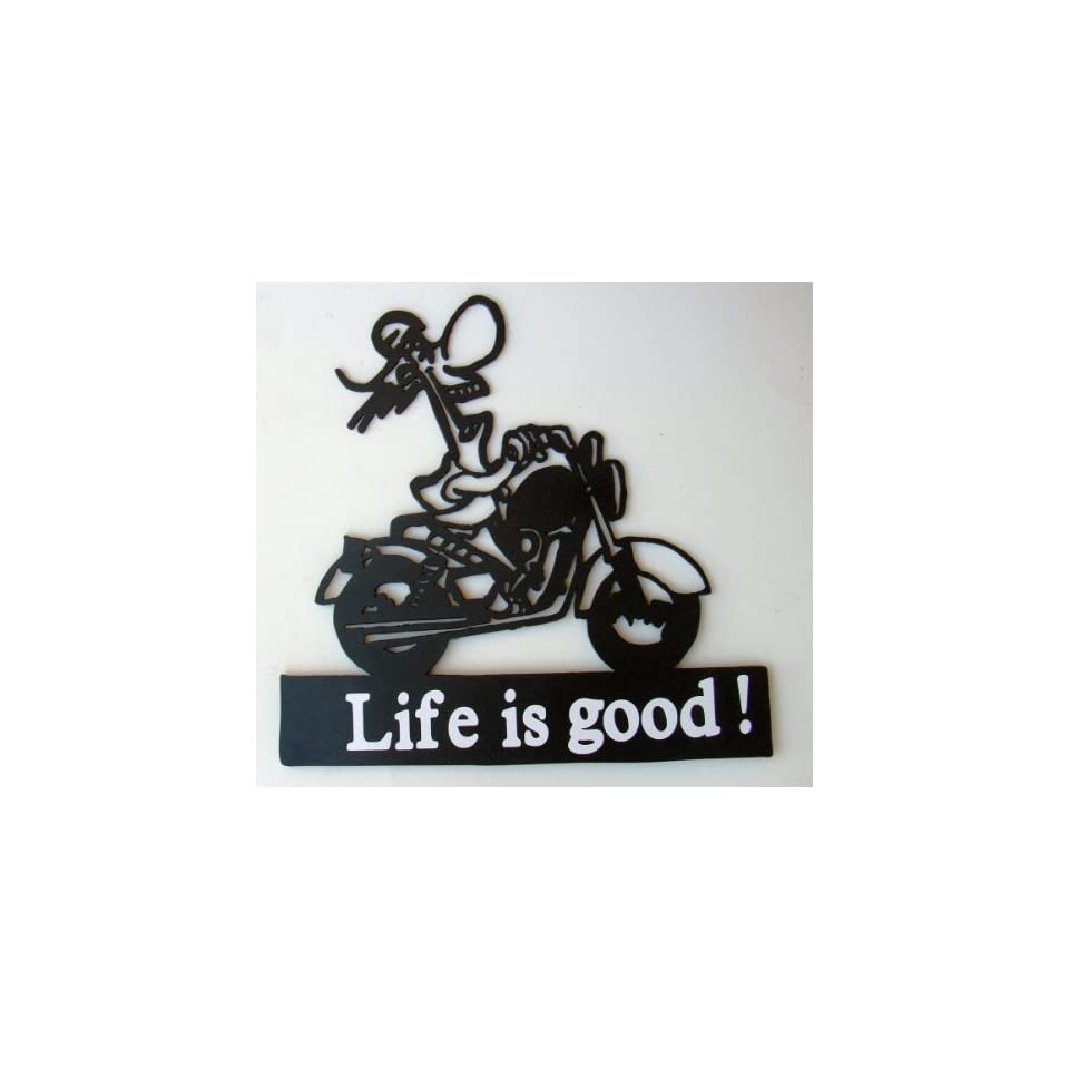 Motorcycle,rider,biker,metal Art,chopper,life Is Good,approximate Size 13 1/4w X 12 1/2h