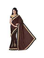 Firstloot Brown Satin Jaquard And Satin Embroidered Saree