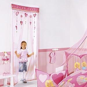 t rvorhang prinzessin t r vorhang schlo kinderzimmer dekoration rosa herzchen k che. Black Bedroom Furniture Sets. Home Design Ideas