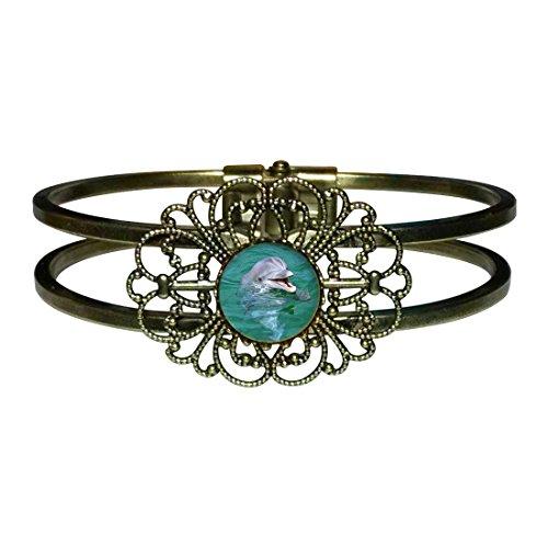 Giftjewelryshop Bronze Retro Style Happy Cute Dolphin Flower Cuff Bangle Bracelet Fashion Jewelry