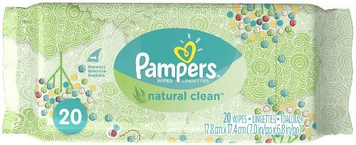Pampers Natural Clean Wipes, 20 Wipes (Pack of 3)