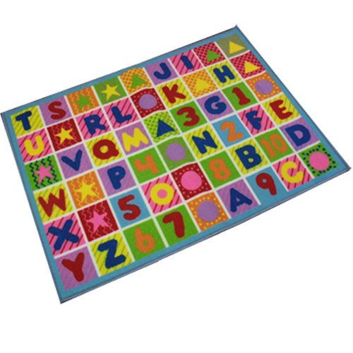 Childrens Large Anti Slip Colourful Letters Shapes Numbers Play Mat, Bedroom Nursery Mat Rug. Size: 80 x 110cm