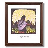 Diego Rivera Spanish Girl Woman Flower Home Decor Wall Picture Cherry Framed Art Print
