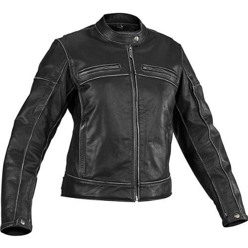 River Road Women's Rambler Distressed Leather Motorcycle Jacket Black SM