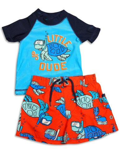 Osh Kosh B'gosh - Infant Boys 2 Piece Rashguard Rash Guard Swimsuit Set, Blue, Orange 31623-18Months