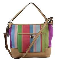 Buy Coach Signature Hamptons Stripe Carly Bag Purse Tote - Leather ... fc5d667fff12f