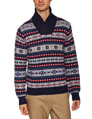 Lee Fair Isle Shawl Men's Jumper Navy Small