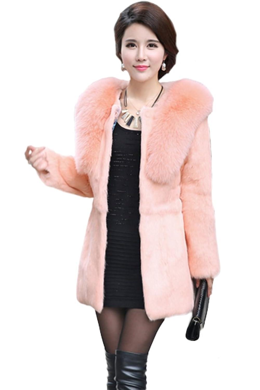 queenshiny Damen 100% Echte Kaninchen Pelz Lang Mantel Jacke Mit Fuchs Pelz Kragen Winter günstig bestellen