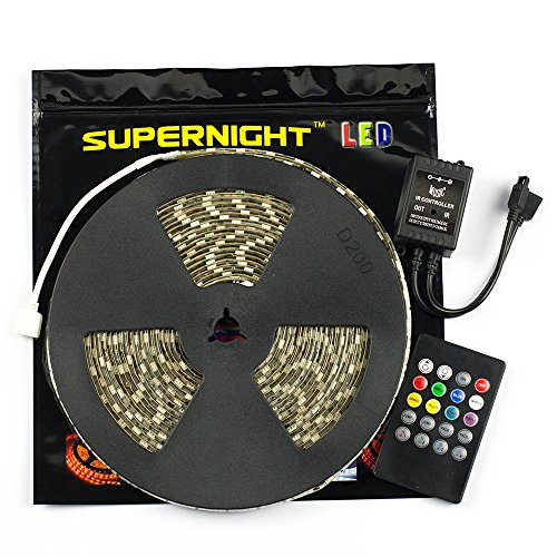 Supernight 5050 32.8Ft 10M Waterproof Rgb Led Strip Flexible Lighting 600Leds Flash Strip + 20Key Remote Music Controller