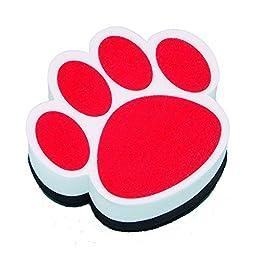 Ashley ASH10003BN Magnetic Whiteboard Eraser, Red Paw, MultiPk 6 Each