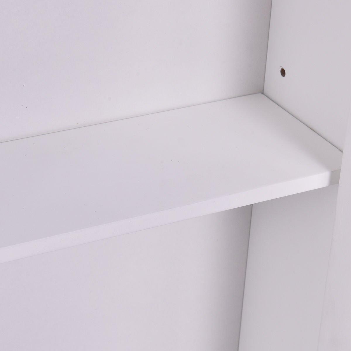 Tangkula Bathroom Cabinet Single Mirror Door Wall Mount Storage Wood Shelf