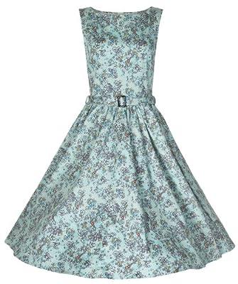 Lindy Bop 'Audrey' Classy Floral Print Vintage Style 1950's Dress