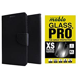 Moblo Flip Cover Black & Tempered Glass cover for Sony Z4