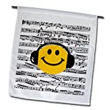fl_112820_1 InspirationzStore Smiley Face Collection - Yellow Smiley Face listening to music with headphones - musical note sheet - happy dj - deejay - Flags - 12 x 18 inch Garden Flag