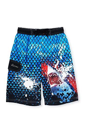 Big Chill Little Boys' Real Shark Rash Guard Cargo Swim Trunk, Blue, 5