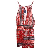 Fashion Women Ethnic Backless Jumpsuit Sleeveless Playsuit Summer Beach Dress S-XL - Red, XL