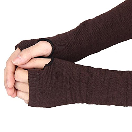 Gloves, Winter Wrist Arm Hand Warmer Knitted Long Fingerless Gloves Mitten (Coffee)