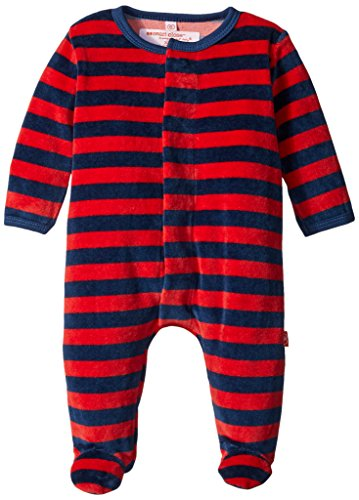 Magnificent Baby Baby-Boys Red and Navy Stripe Velour Footie