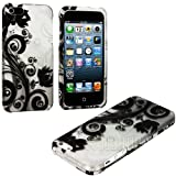 """myLife (TM) Abstract Black + White Flowers and Vines Series (2 Piece Snap On) Hardshell Plates Case for the iPhone 5/5S (5G) 5th Generation Touch Phone (Clip Fitted Front and Back Solid Cover Case + Rubberized Tough Armor Skin + Lifetime Warranty + Sealed Inside myLife Authorized Packaging) """"ADDITIONAL DETAILS: This two piece clip together case has a gloss surface and smooth texture that maximizes the stylish appeal of your iPhone 5 and brings out the unique colors and designs in the case itself."""""""
