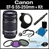 Canon EF-S 55-250mm f/4.0-5.6 IS Telephoto Zoom Lens for Canon Digital SLR Cameras + Filter Kit + Lens Hood + Care Package