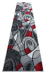 Masada Rugs, Modern Contemporary Runner Area Rug, Red Grey Black. (2 Feet 4 Inch X 10 Feet 11 Inch) Runner