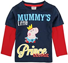 peppa pig Little Boy Long-Sleeve Cartoon Embroidered Cotton T-Shirts