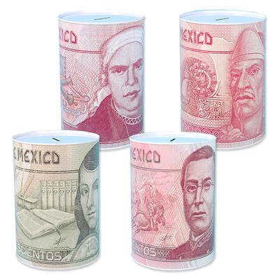 "6""H Mexican Dollar Design Tin Box Saving Bank (Various Color) - 1"
