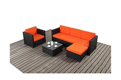 Avignon Gartenmöbel Ecksofa & schwarz Orange-Set günstig ...