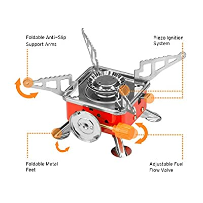 Etekcity E-gear Portable Collapsible Outdoor Backpacking Gas Camping Stove Burner