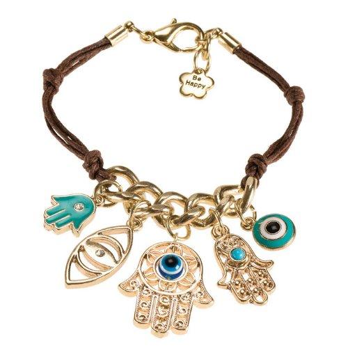 Leather Hamsa Charm Bracelet