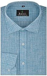 Basil Men's Formal Shirt (BA310LCHK16FSF, Sky Blue, 40)